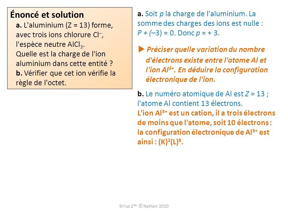 Énoncé et solution a. L aluminium (Z = 13) forme, avec trois ions chlorure Cl–, l espèce neutre AlCl3. Quelle est la charge de l ion aluminium dans cette entité b. Vérifier que cet ion vérifie la règle de l octet.