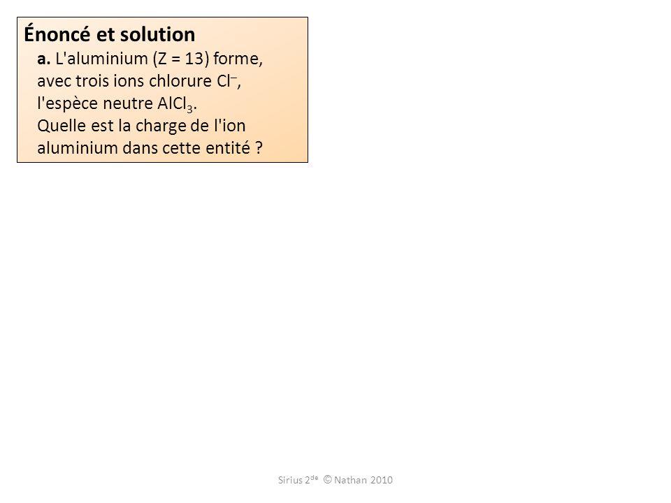 Énoncé et solution a. L aluminium (Z = 13) forme, avec trois ions chlorure Cl–, l espèce neutre AlCl3. Quelle est la charge de l ion aluminium dans cette entité