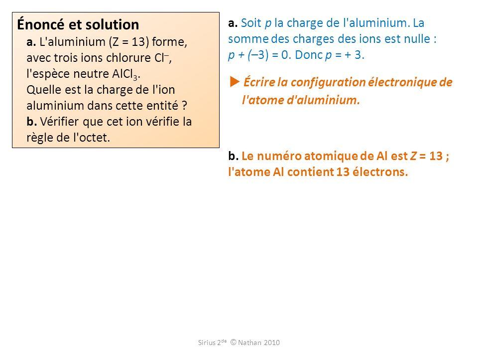  Écrire la configuration électronique de l atome d aluminium.