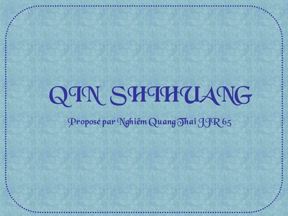 Proposé par Nghiêm Quang Thai JJR 65