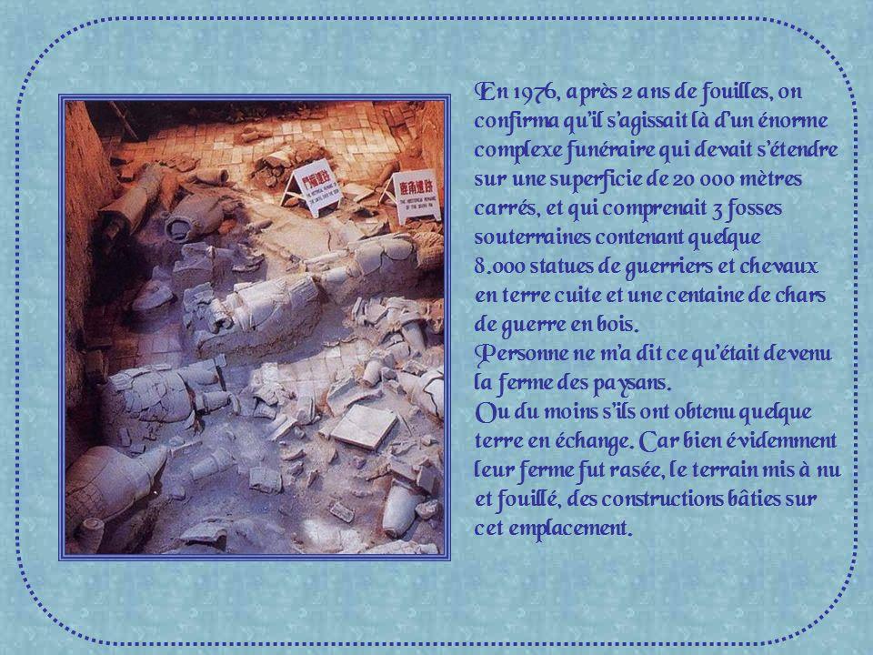 En 1976, après 2 ans de fouilles, on confirma qu'il s'agissait là d'un énorme complexe funéraire qui devait s'étendre sur une superficie de 20 000 mètres carrés, et qui comprenait 3 fosses souterraines contenant quelque