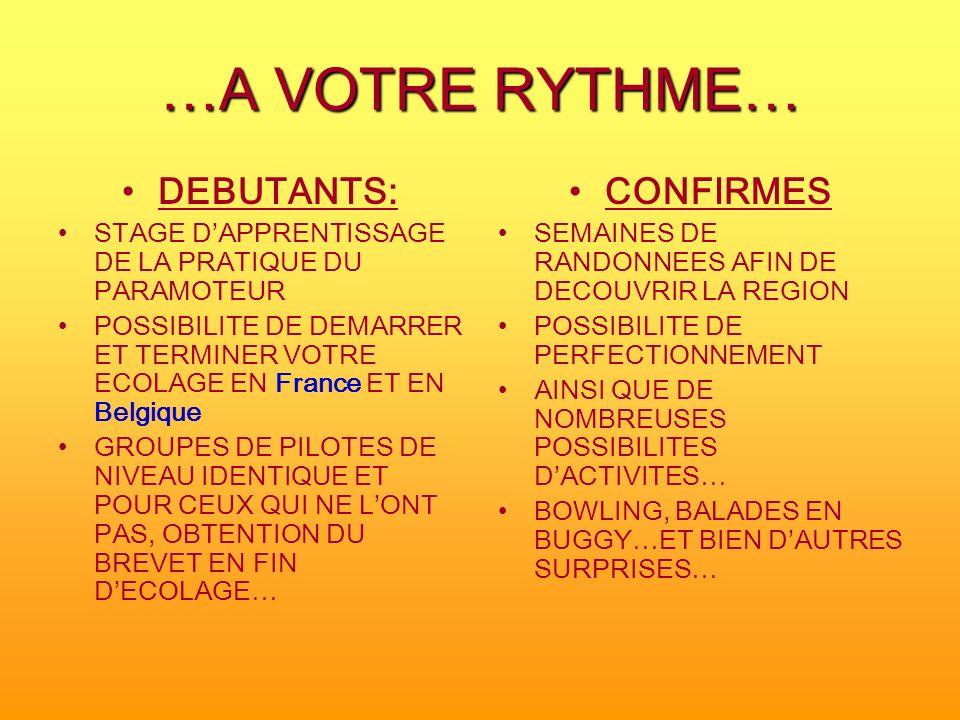 …A VOTRE RYTHME… DEBUTANTS: CONFIRMES