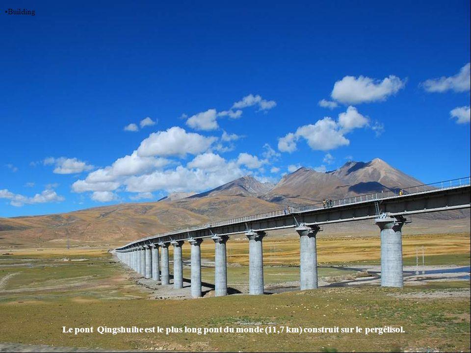 Building Le pont Qingshuihe est le plus long pont du monde (11,7 km) construit sur le pergélisol.