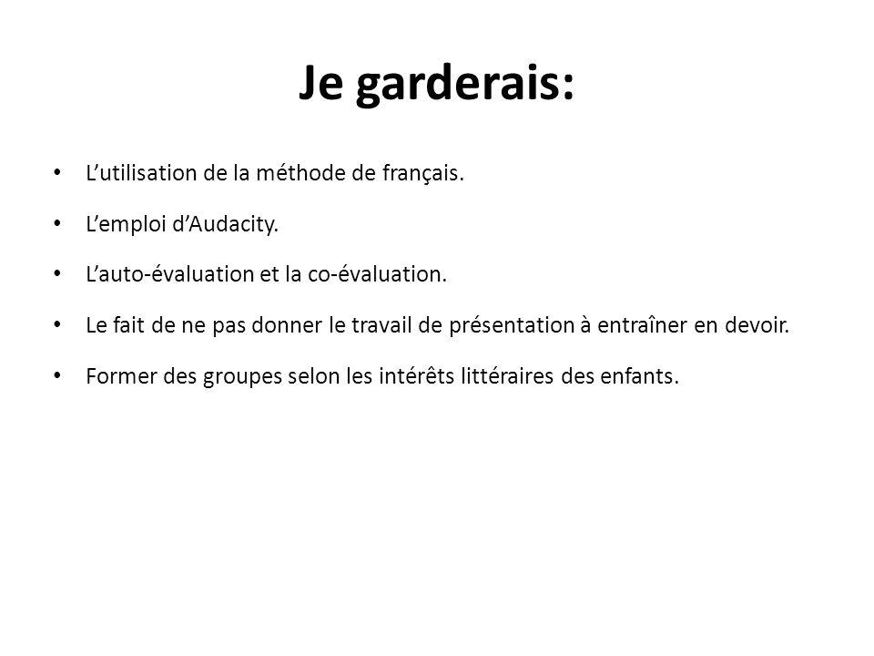 Je garderais: L'utilisation de la méthode de français.