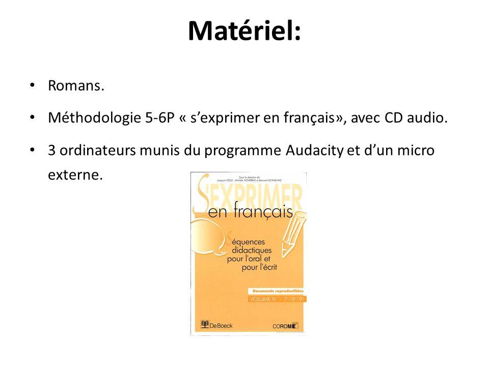 Matériel: Romans. Méthodologie 5-6P « s'exprimer en français», avec CD audio.