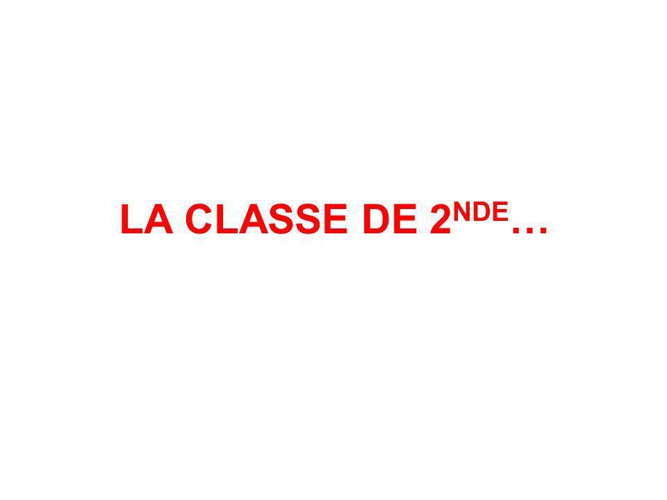 LA CLASSE DE 2NDE…