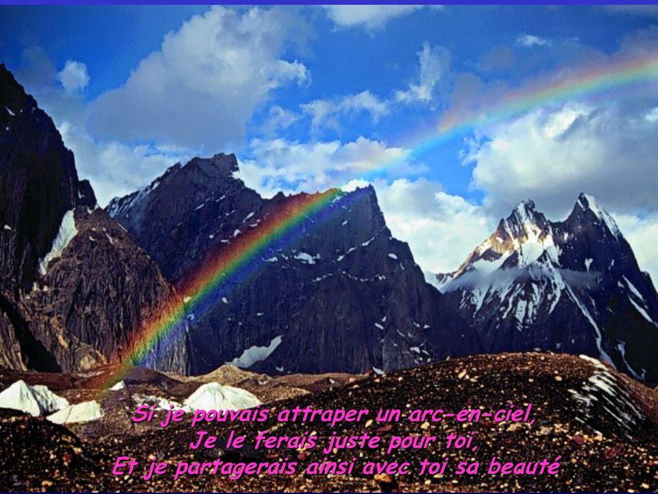 Si je pouvais attraper un arc-en-ciel, Je le ferais juste pour toi, Et je partagerais ainsi avec toi sa beauté