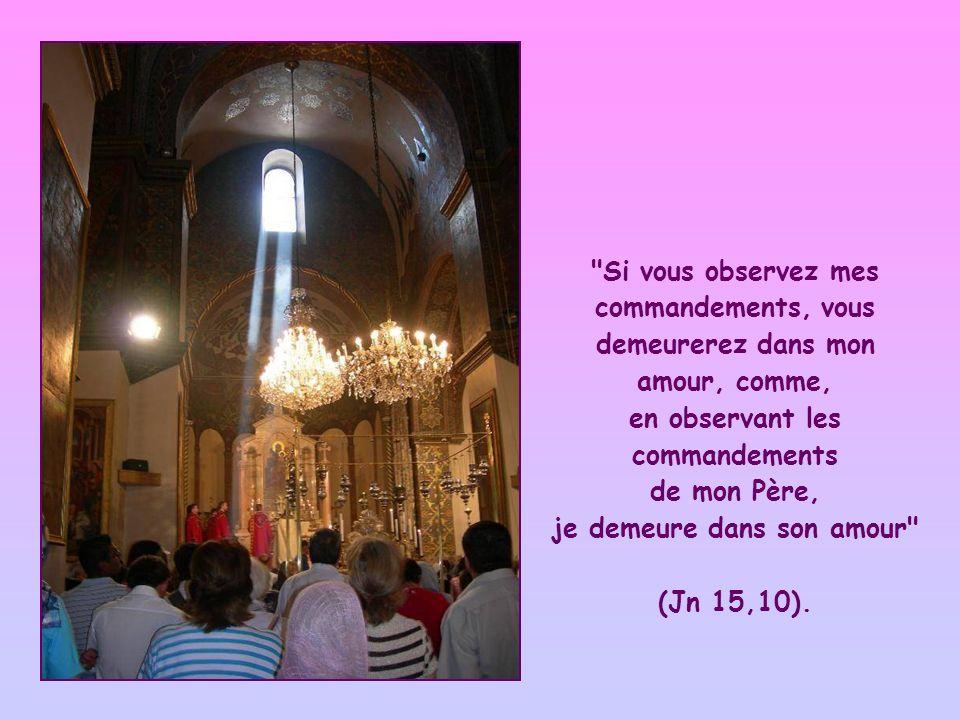 Si vous observez mes commandements, vous demeurerez dans mon amour, comme, en observant les commandements de mon Père, je demeure dans son amour