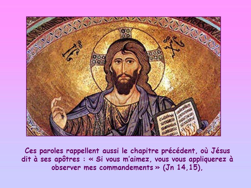 Ces paroles rappellent aussi le chapitre précédent, où Jésus dit à ses apôtres : « Si vous m'aimez, vous vous appliquerez à observer mes commandements » (Jn 14,15),