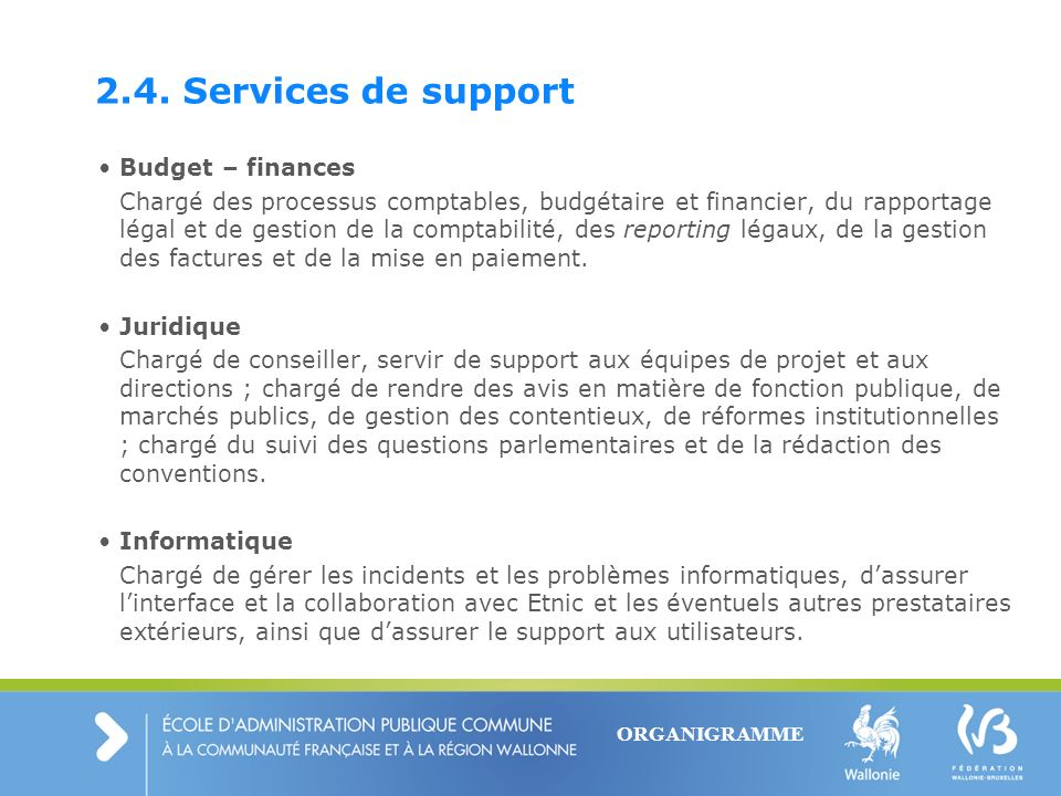 2.4. Services de support Budget – finances