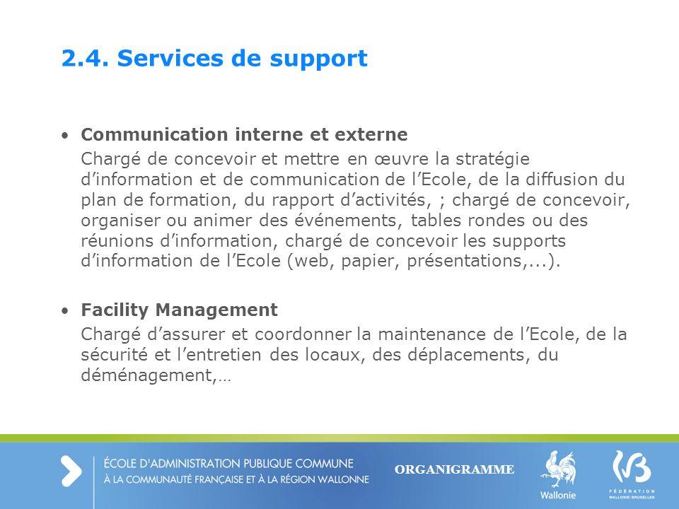 2.4. Services de support Communication interne et externe