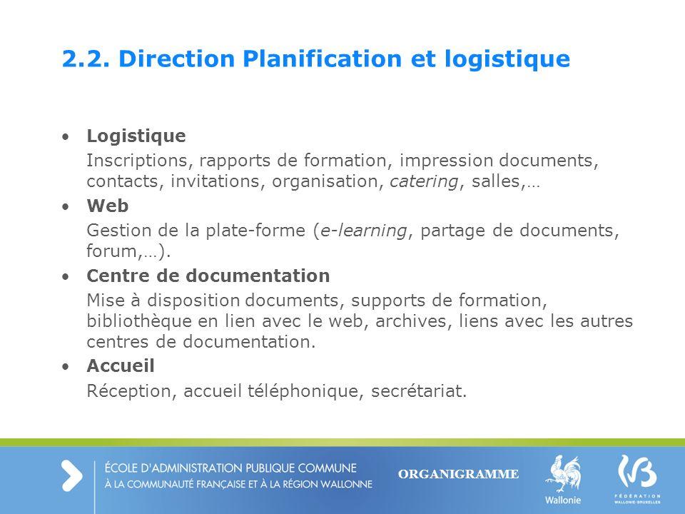 2.2. Direction Planification et logistique