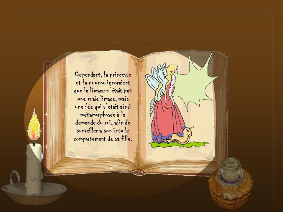 Cependant, la princesse et la nounou ignoraient que la limace n'était pas une vraie limace, mais une fée qui s'était ainsi métamorphosée à la demande du roi, afin de surveiller à son insu le comportement de sa fille.