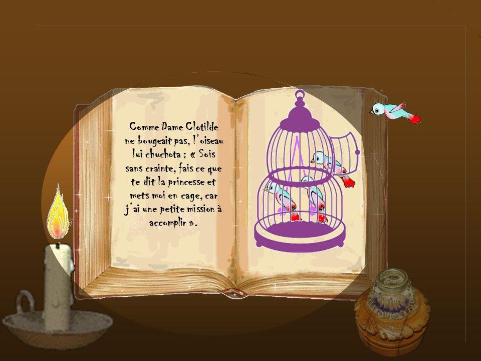 Comme Dame Clotilde ne bougeait pas, l'oiseau lui chuchota : « Sois sans crainte, fais ce que te dit la princesse et mets moi en cage, car j'ai une petite mission à accomplir ».