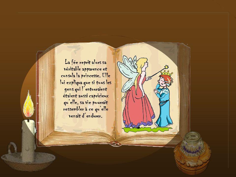 La fée reprit alors sa véritable apparence et consola la princesse