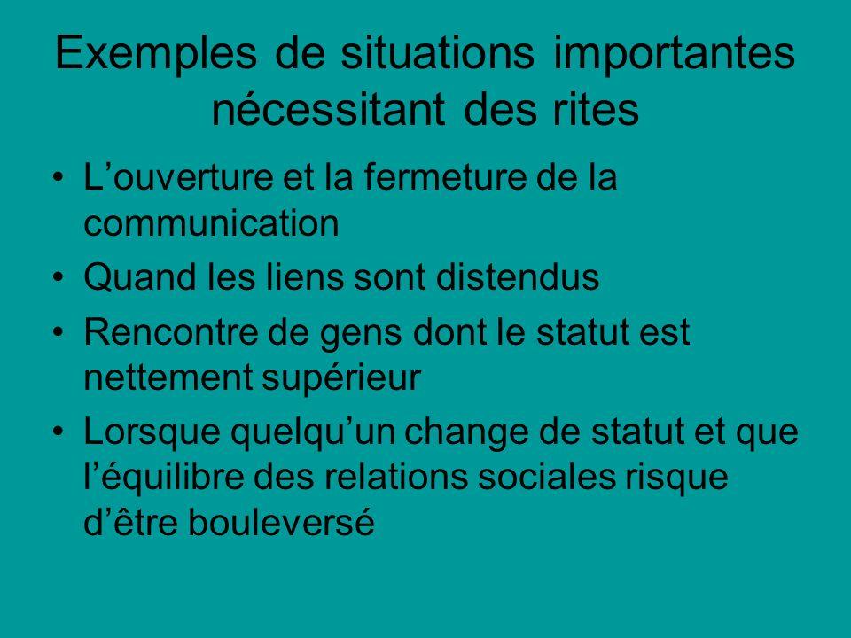 Exemples de situations importantes nécessitant des rites
