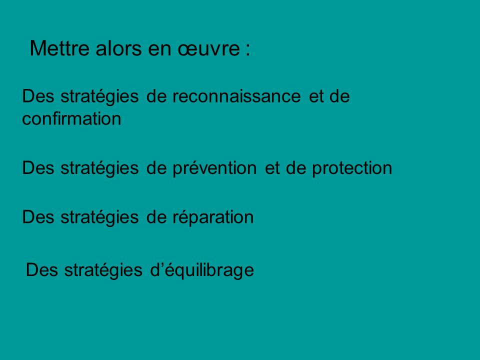 Mettre alors en œuvre : Des stratégies de reconnaissance et de confirmation. Des stratégies de prévention et de protection.