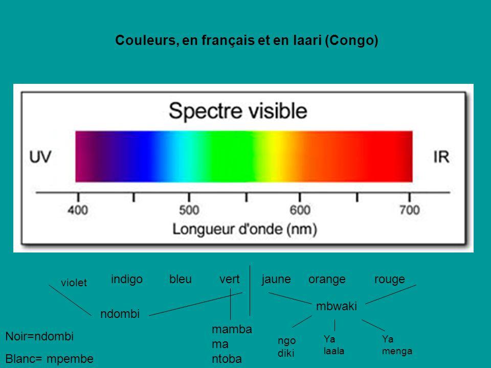 Couleurs, en français et en laari (Congo)