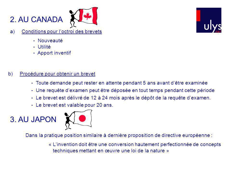 2. AU CANADA 3. AU JAPON Conditions pour l'octroi des brevets
