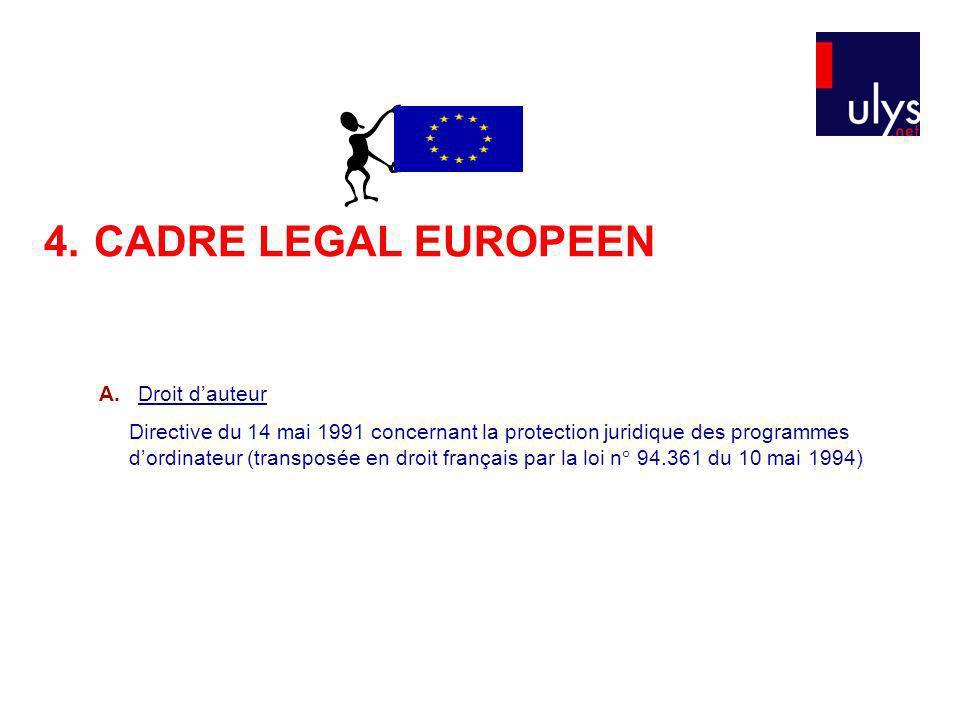 4. CADRE LEGAL EUROPEEN A. Droit d'auteur