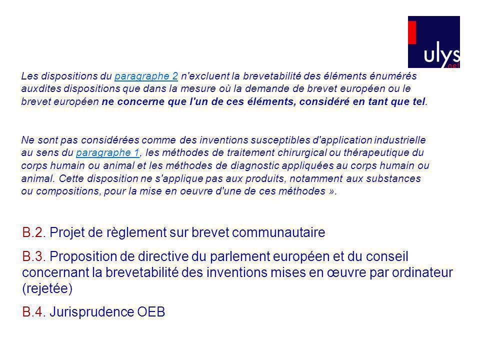 B.2. Projet de règlement sur brevet communautaire