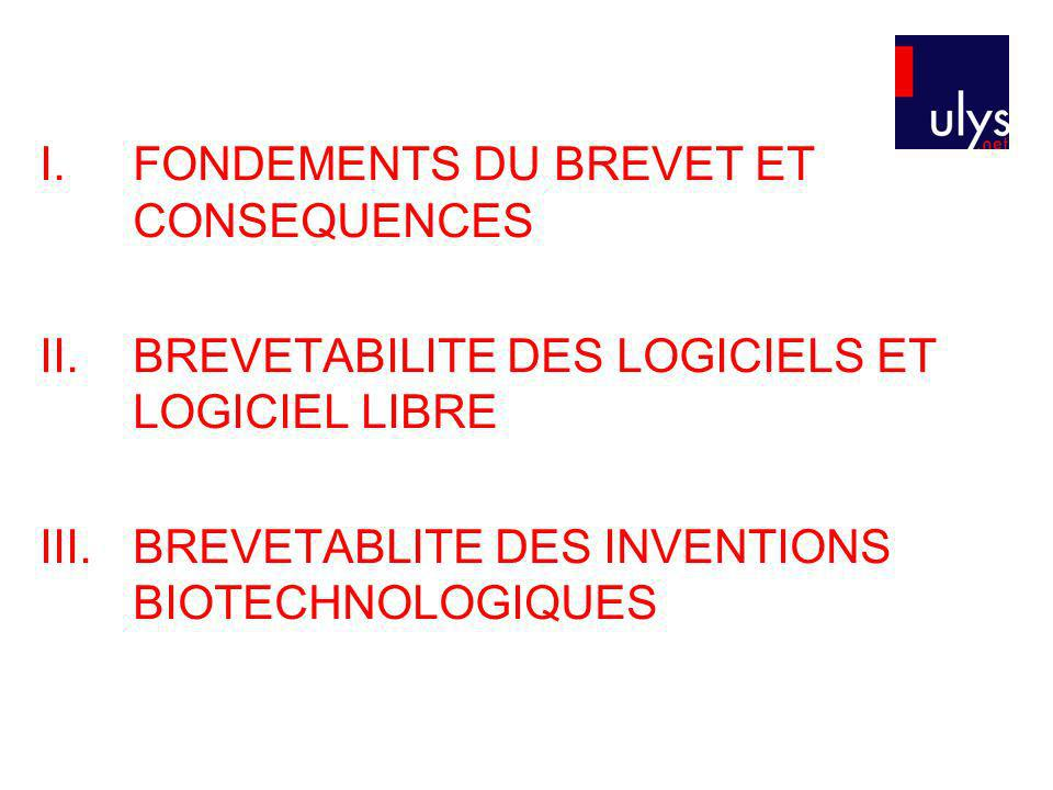 FONDEMENTS DU BREVET ET CONSEQUENCES