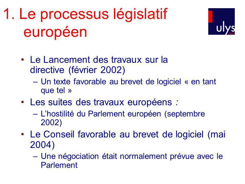 1. Le processus législatif européen