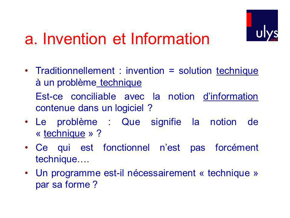a. Invention et Information