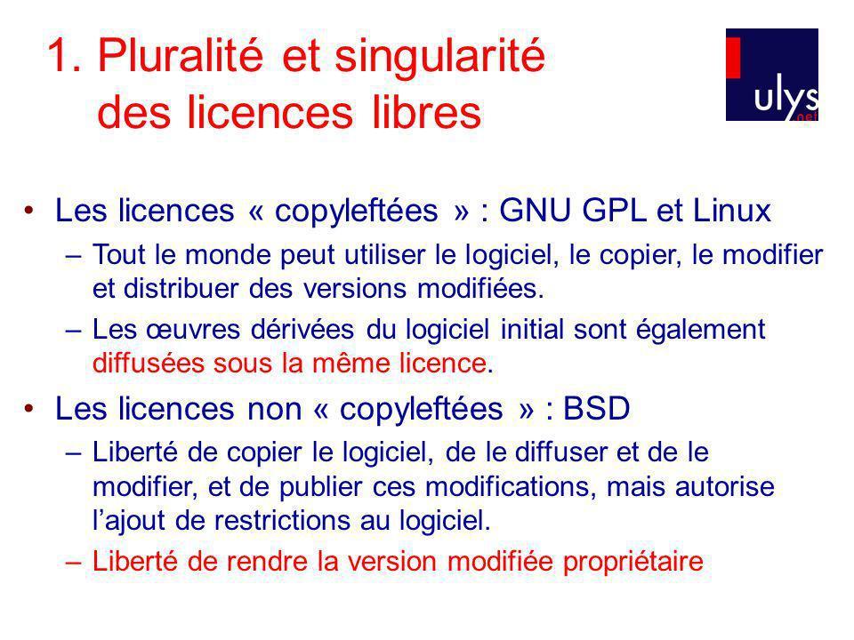 1. Pluralité et singularité des licences libres