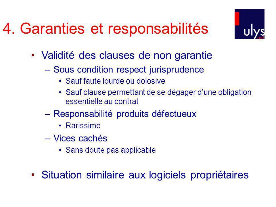 4. Garanties et responsabilités