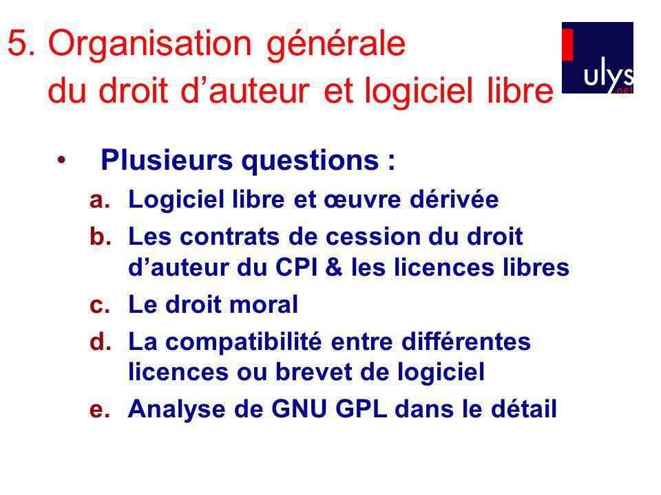 5. Organisation générale du droit d'auteur et logiciel libre