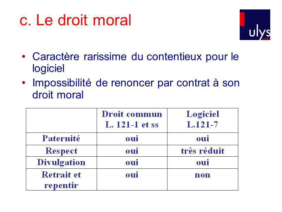 c. Le droit moral Caractère rarissime du contentieux pour le logiciel