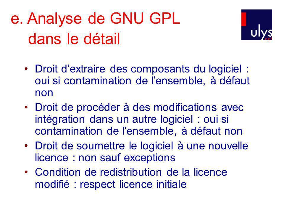 e. Analyse de GNU GPL dans le détail