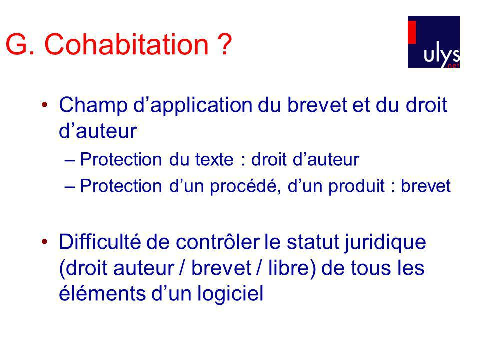 G. Cohabitation Champ d'application du brevet et du droit d'auteur