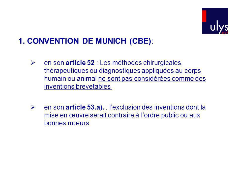 1. CONVENTION DE MUNICH (CBE):