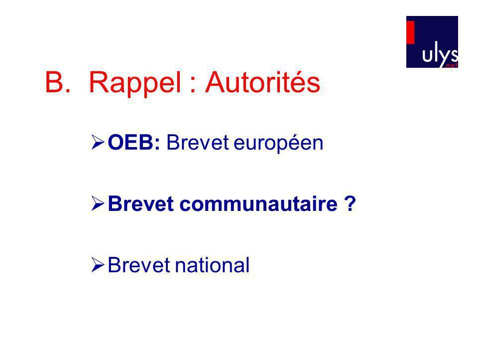 B. Rappel : Autorités OEB: Brevet européen Brevet communautaire