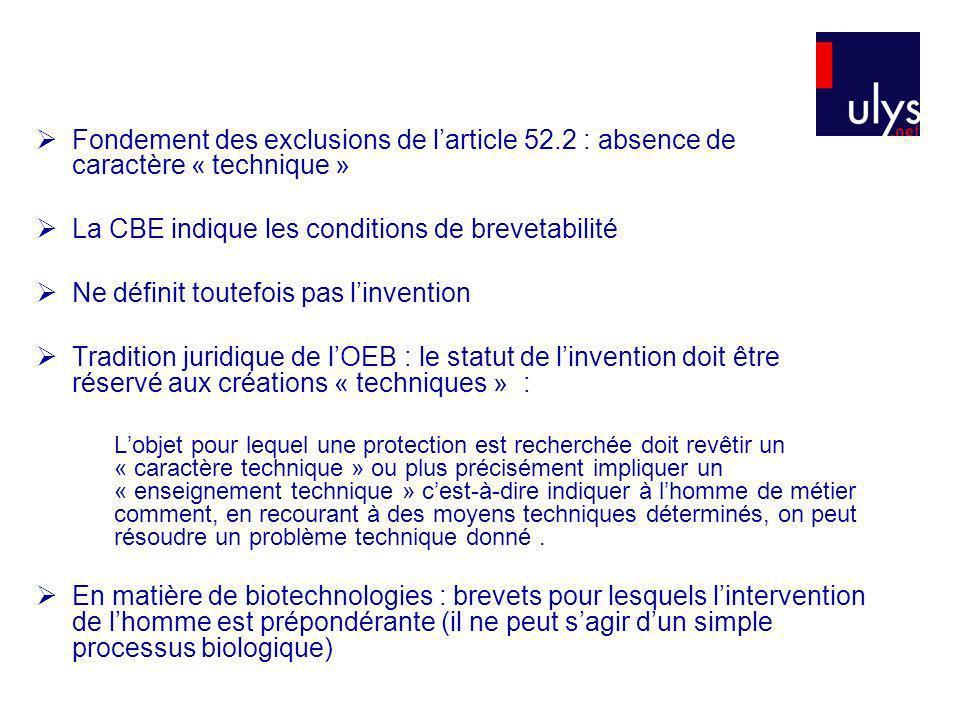 La CBE indique les conditions de brevetabilité
