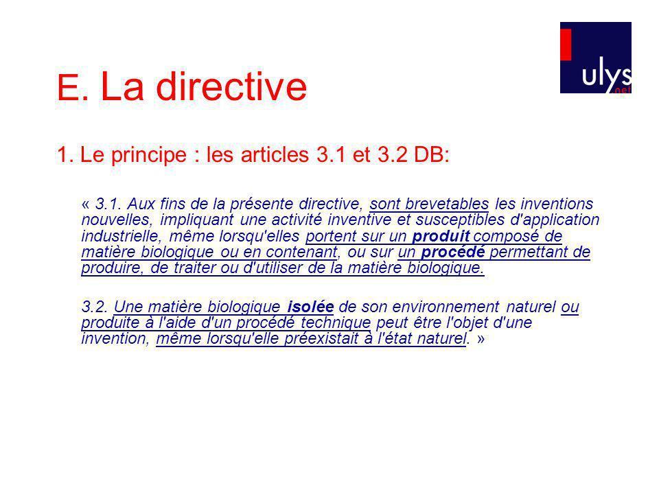 E. La directive 1. Le principe : les articles 3.1 et 3.2 DB: