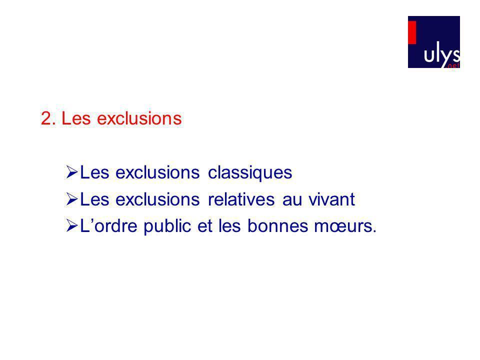 2. Les exclusions Les exclusions classiques. Les exclusions relatives au vivant.