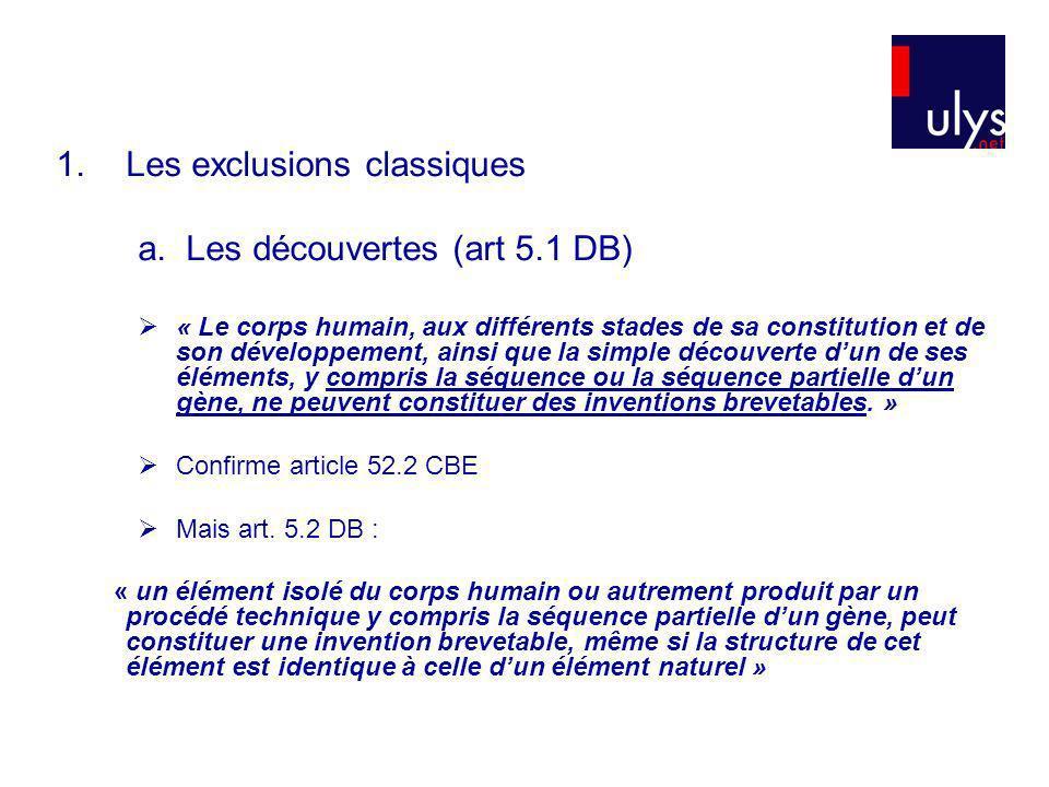 Les exclusions classiques a. Les découvertes (art 5.1 DB)