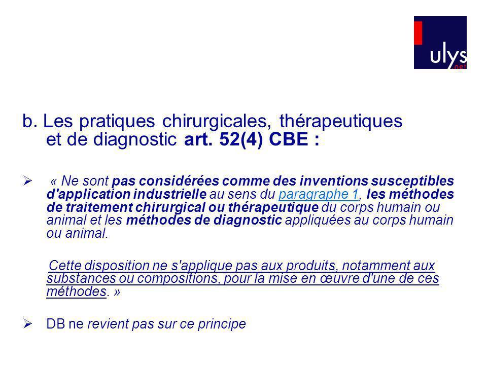 b. Les pratiques chirurgicales, thérapeutiques et de diagnostic art