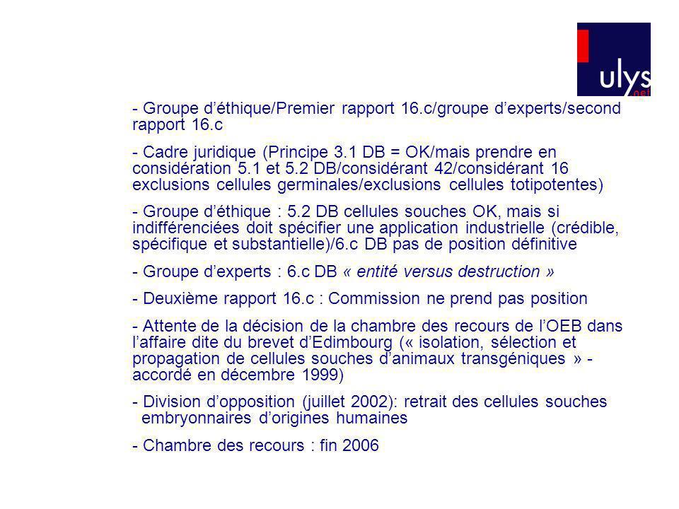 - Groupe d'éthique/Premier rapport 16