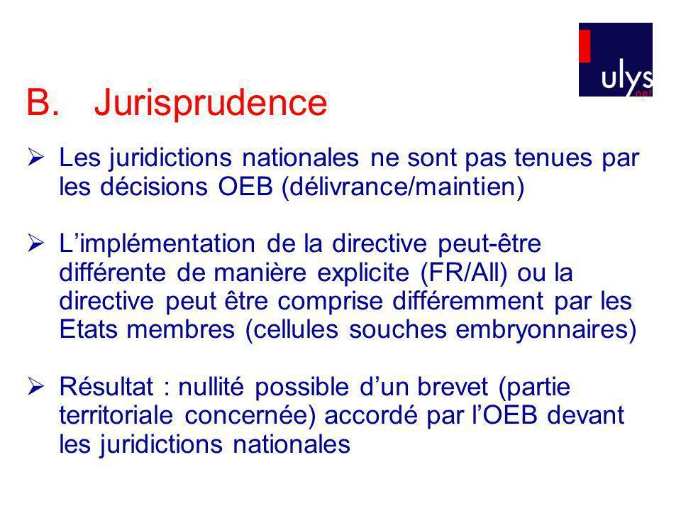 B. Jurisprudence Les juridictions nationales ne sont pas tenues par les décisions OEB (délivrance/maintien)