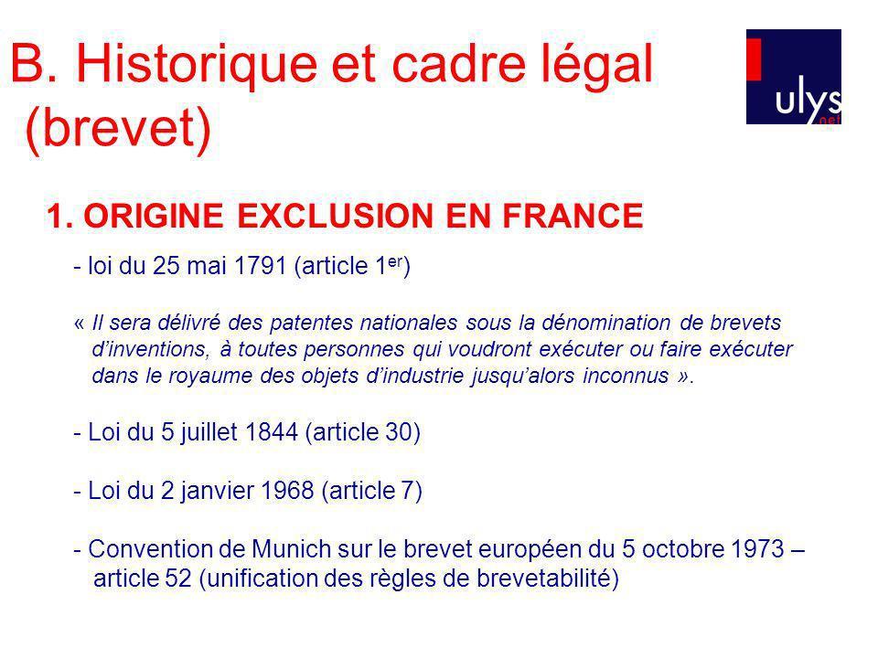 B. Historique et cadre légal (brevet)