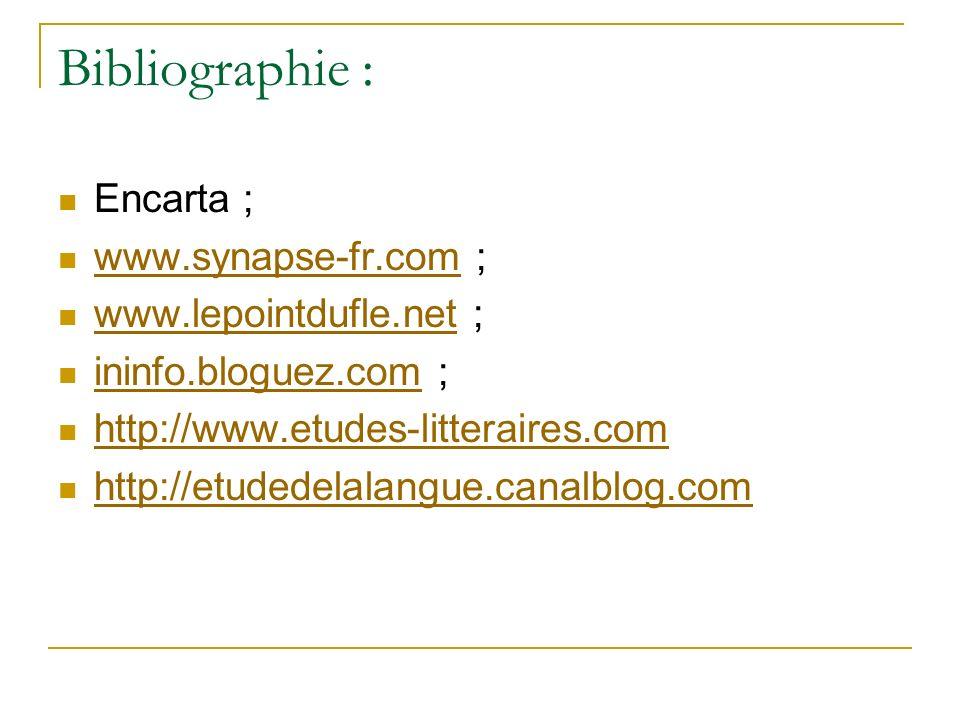 Bibliographie : Encarta ; www.synapse-fr.com ; www.lepointdufle.net ;