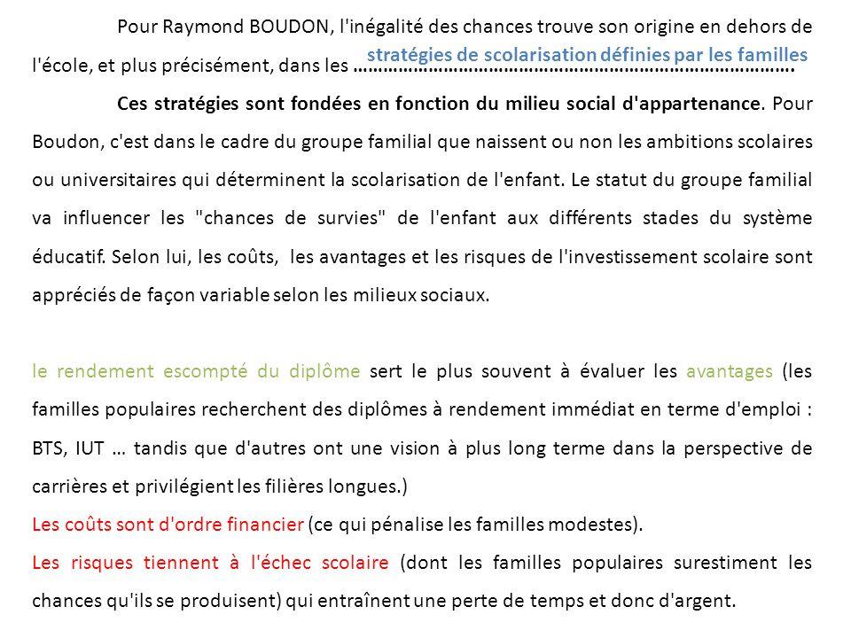 Pour Raymond BOUDON, l inégalité des chances trouve son origine en dehors de l école, et plus précisément, dans les …………………………………………………………………………….