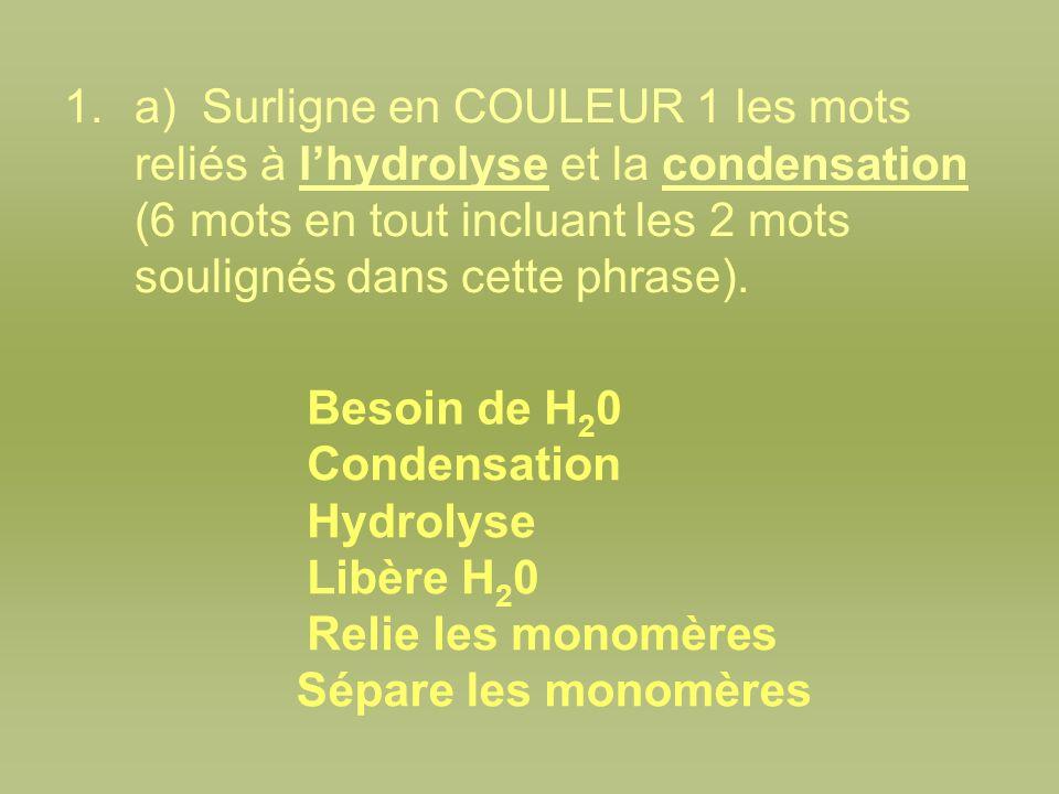 a) Surligne en COULEUR 1 les mots reliés à l'hydrolyse et la condensation (6 mots en tout incluant les 2 mots soulignés dans cette phrase).