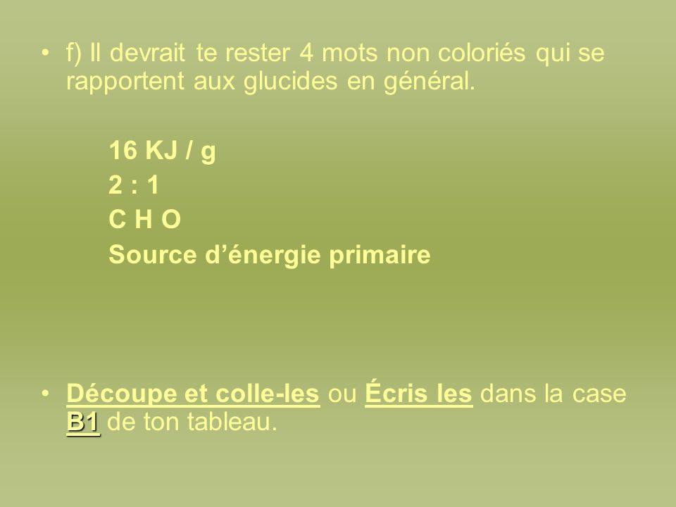 f) Il devrait te rester 4 mots non coloriés qui se rapportent aux glucides en général.