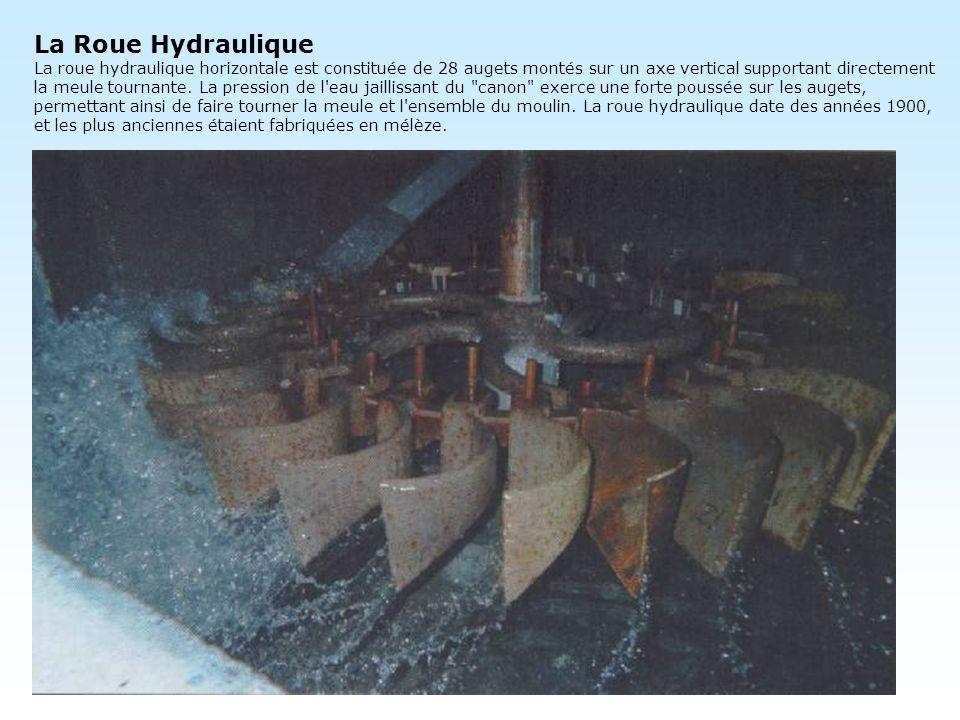 La Roue Hydraulique La roue hydraulique horizontale est constituée de 28 augets montés sur un axe vertical supportant directement la meule tournante.