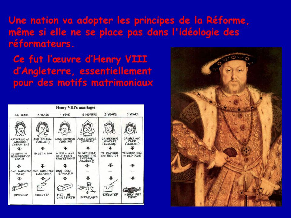 Une nation va adopter les principes de la Réforme, même si elle ne se place pas dans l idéologie des réformateurs.